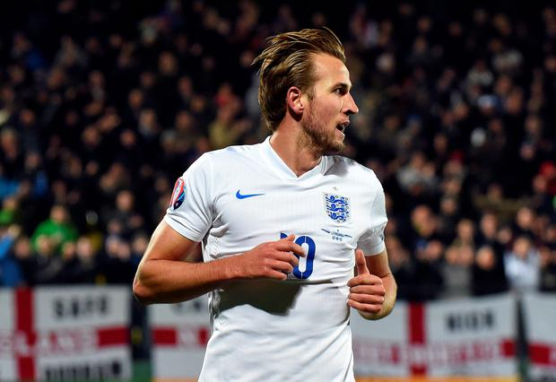 England's Harry Kane reacts after scoring a goal during the Euro 2016 Group E qualifying football match between Lithuania and England at LFF stadium in Vilnius on October 12, 2015. AFP PHOTO / JANEK SKARZYNSKIJANEK SKARZYNSKI/AFP/Getty Images