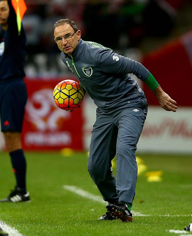 On the ball: Republic of Ireland manager Martin O'Neill may face selection dilemmas as he prepares his side for the Euro 2016 play-offs. The draw for the play-offs takes place on Sunday