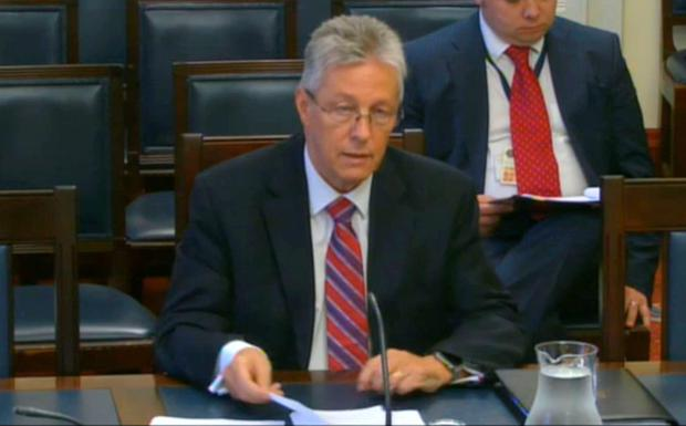 Video grab taken from the Northern Ireland Assembly of Democratic Unionist Party (DUP) leader Peter Robinson appearing before a parliamentary committee in Stormont, Belfast, which is investigating the £1bn sale of the Nama Northern Ireland property portfolio. PA Wire