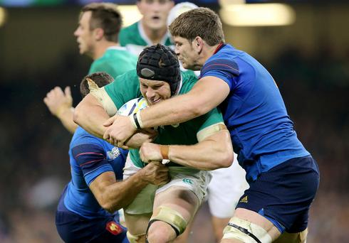 Talking point: Ireland's Sean O'Brien was cited after striking Pascal Pape of France (right) in last weekend's World Cup clash