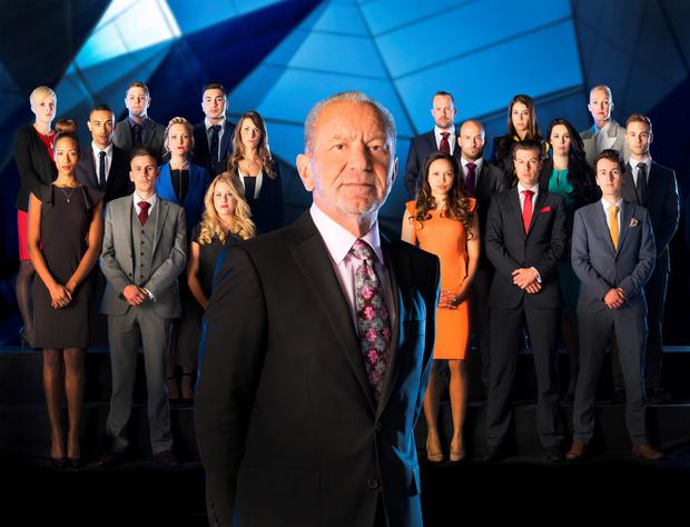 Undated BBC handout photo of Lord Sugar in front of the candidates fo this year?s BBC1 programme, The Apprentice (back row left to right) Natalie Dean, David Stevenson, Mergim Butaja, Richard Woods, Vana Koutsomitis, Ruth Whiteley, (second row left to right) Scott Saunders, Charleine Wain, Jenny Garbis, Brett Butler-Smythe, Elle Stevenson, Sam Curry, (front row left to right) April Jackson, Joseph Valente, Selina Waterman-Smith, Aisha Kasim, Gary Poulton and Dan Callaghan.