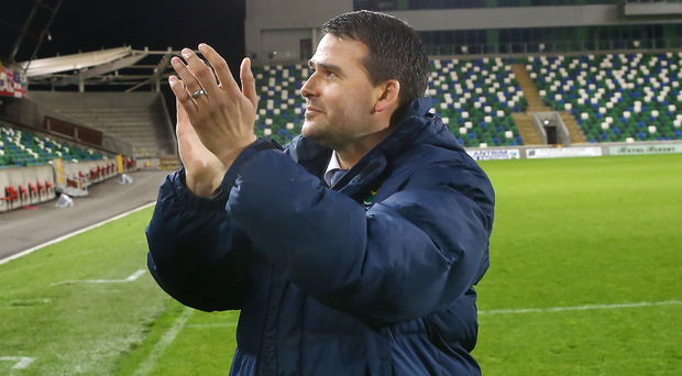 Taking the applause: David Healy is introduced as the new manager of Linfield at Windsor Park last night