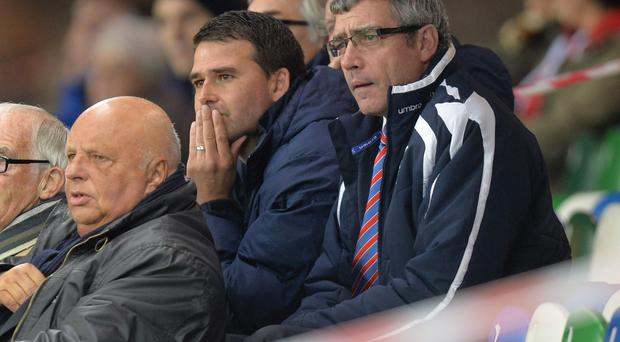 Interested observer: New Linfield boss David Healy watches his side take on Ballinamallard United last night