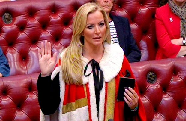 Entrepreneur Michelle Mone is admitted to the House of Lords as Baroness Mone of Mayfair, after being made a Tory peer. PA