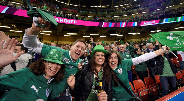 Ireland fans in the crowd during the Pool D match of the 2015 Rugby World Cup between France and Ireland at the Millennium Stadium in Cardiff.