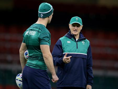 Not a risk: Joe Schmidt talks to Jonathan Sexton yesterday and insists playing Ireland's star man after injury is not a gamble
