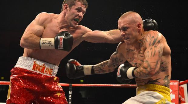 Big Apple: Eamonn O'Kane (left) fights in a New York show