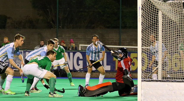 Good show: Ireland's Kyle Good scores the equaliser against Argentina in Dublin