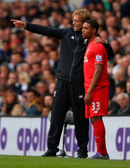 Future pointer: Jurgen Klopp instructs Jordon Ibe at White Hart Lane in his first game in charge of Liverpool