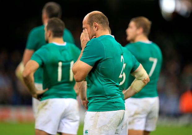 World's end: Rory Best bowed out with an injury worry in Cardiff yesterday
