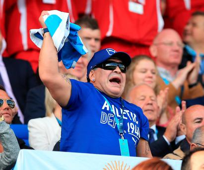 Flag bearer: Maradona celebrates a previous Argentina win