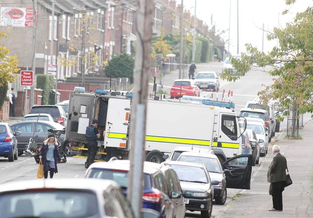 Army Technical Officers and police at the scene of a security alert on the Oldpark Road in north Belfast. Picture by Jonathan Porter/PressEye