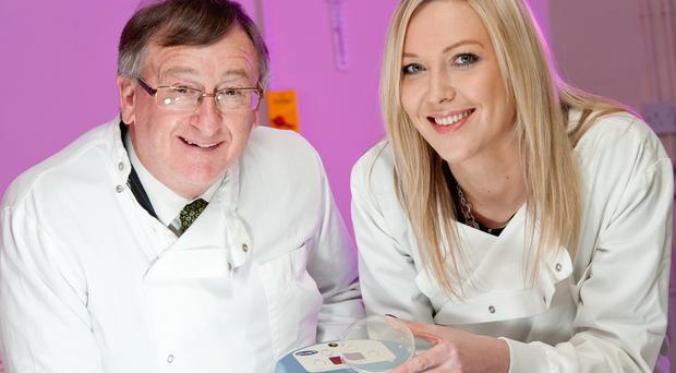 Chemtest Ireland in West Belfast plans to double its workforce, creating 15 new analyst and administration positions as part of growth efforts supported by Invest Northern Ireland. Pictured (left) is Damian McAuley, Invest NI, with Ashleigh Greeves, Chemtest Ireland. Photography by Andrew Towe, Parkway Photography.