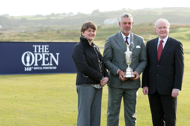 Darren Clarke pictured with acting First Minister and Finance Minister Arlene Foster and deputy First Minister Martin McGuinness at the official announcement that The Open Championship is to be held in Royal Portrush in 2019, and twice more before 2040. Pic Kelvin Boyes/PressEye.