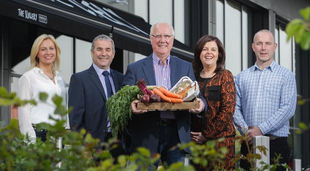 Joanne Gourley, joint owner of Fruitfield Reids Farm Foodhall; Tony McConnell, Senior Business Manager, Danske Bank; Eric Reid, joint owner of Fruitfield Reids Farm Foodhall; Oonagh Murtagh, Head of Finance Centre at Danske Bank and Gary Reid, joint owner of Fruitfield Reids Farm Foodhall