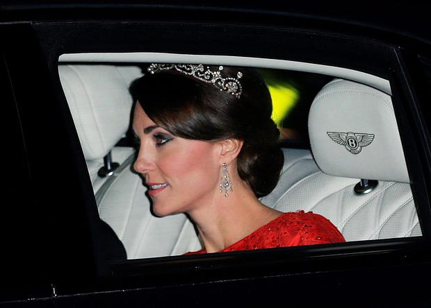 The Duchess of Cambridge arrives at Buckingham Palace ahead of this evening's state banquet to honour China President Xi Jinping on the first full day of his state visit to the UK. Photo: PA