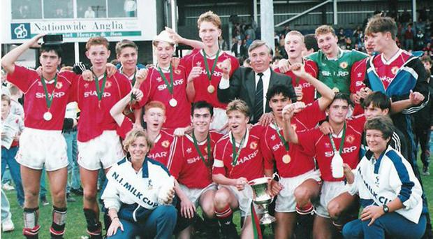 The victorious Manchester United Milk Cup squad of 1991.