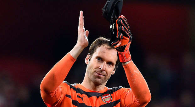 Safe hands: Petr Cech salutes fans after super display