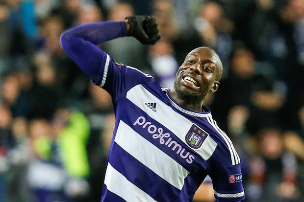 Anderlecht's Stefano Okaka celebrates after scoring the 2-1 goal during the UEFA Europa League Group J football match between RSC Anderlecht and Tottenham Hotspur FC at the Constant Vanden Stock Stadium in Brussels, on October 22, 2015. AFP PHOTO / BELGA / THIERRY ROGE +++ BELGIUM OUTTHIERRY ROGE/AFP/Getty Images