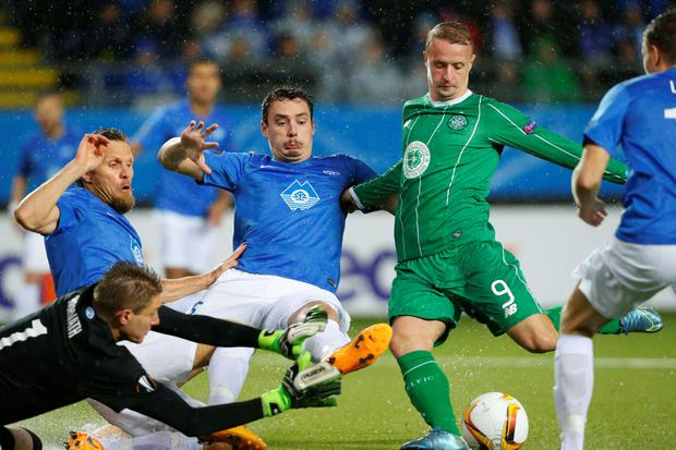 Molde's goalkeeper Ethan Horvath (L-R), Daniel Berg Hestad, Vegard Forren and Celtic's Leigh Griffiths vie for the ball during the UEFA Europa Leage football match Molde FK vs Celtic FC in Molde on October 22, 2015. AFP/Getty Images