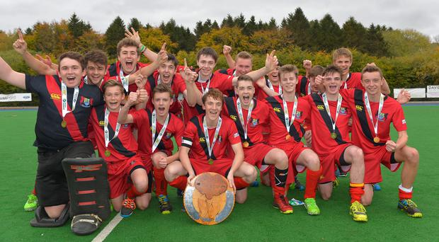 We are the champions: Banbridge Academy celebrate success in the All-Ireland Schoolboys Trophy final at Shaw's Bridge