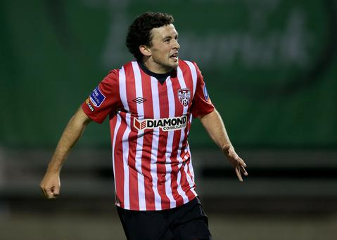 On target: Derry's Barry McNamee scored for the Candystripes but Paul Hegarty's side crashed to defeat against Bohs
