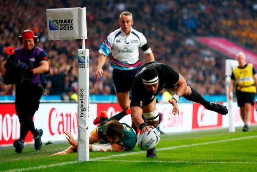 Jerome Kaino of the New Zealand All Blacks scores the opening try during the 2015 Rugby World Cup Semi Final match between South Africa and New Zealand at Twickenham Stadium on October 24, 2015 in London, United Kingdom. (Photo by Laurence Griffiths/Getty Images)