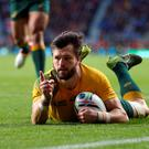 Australia's Adam Ashley-Cooper scores his second try and his side's third during the Rugby World Cup, Semi Final at Twickenham Stadium, London. PRESS ASSOCIATION