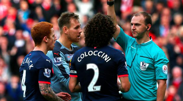 Red mist: Fabricio Coloccini is sent off following a foul on Steven Fletcher during the derby clash