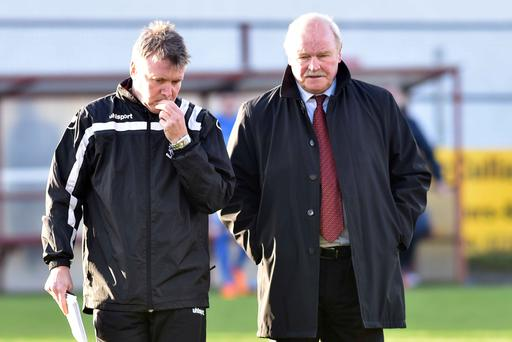 Resolute: Portadown manager Ronnie McFall (right) is confident that he and assistant Kieran Harding can turn things round at Portadown