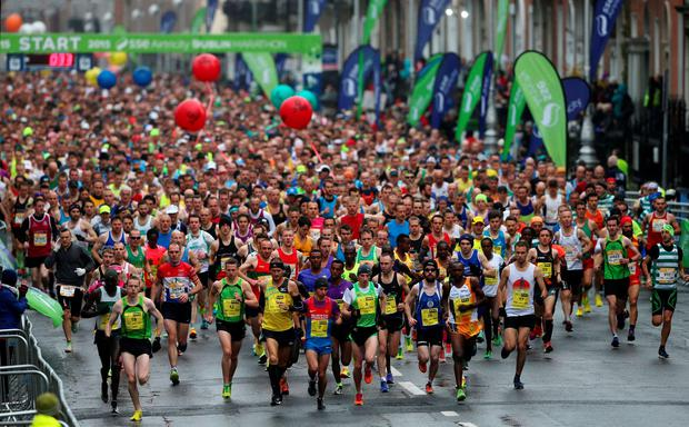 Runners at the start of the 36th Dublin City marathon in Dublin, Ireland. Niall Carson/PA Wire