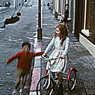 Belfast, Northern Ireland, with curbstones painted red white and blue