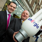Energia energy services manager Cormac Mannion with Lorcan O'Conner of Carroll's Irish Gifts after Energia upgraded the Belfast store's lighting system
