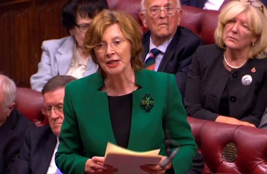 Baroness Hollis of Heigham, addresses the House of Lords on the government's plans to cut tax credits. Pic AFP/PRU