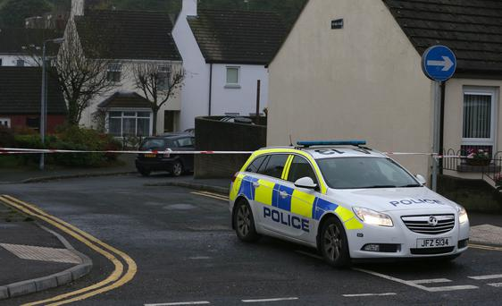 The scene after a number of homes had been evacuated due to a security alert in Ballynahinch. Stephen Hamilton- Presseye.com - Belfast - Northern Ireland - 27th October 2015