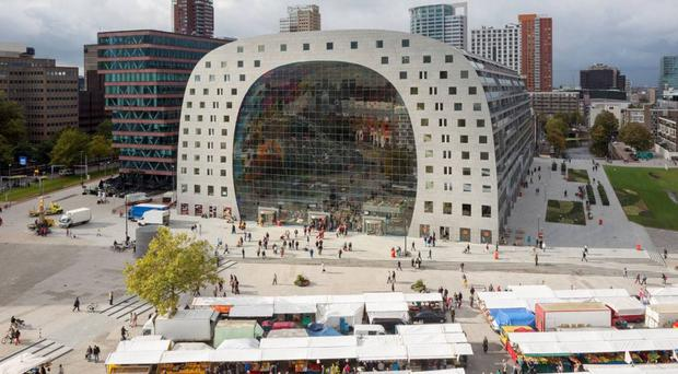 Rotterdam's Market Hall, opened in 2014, is one of the city's landmark buildings.