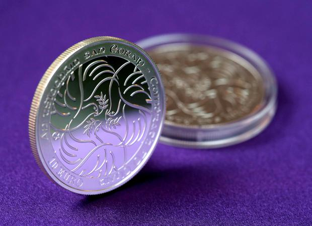 Handout photo dated 27/10/15 issued by Jason Clarke Photography of a €10 silver collector's coin commemorating the 70th anniversary of peace in Europe that has been launched by the Central Bank of Ireland. PA