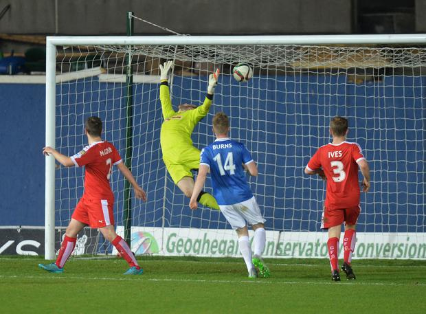 PACEMAKER BELFAST 27/10/2015 Linfield v Cliftonville Co Antrim Shield 1/4 final LinfieldÕs Andrew Waterworth scores during this evenings game at Windsor park in Belfast. Photo Colm Lenaghan/Pacemaker Press