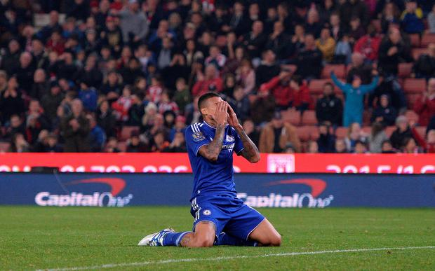 Chelsea's Brazilian striker Kenedy reacts after missing a shot on goal in extra time during the English League Cup fourth round football match between Stoke City and Chelsea at the Britannia Stadium in Stoke-on-Trent, central England on October 27, 2015. AFP/Getty Images