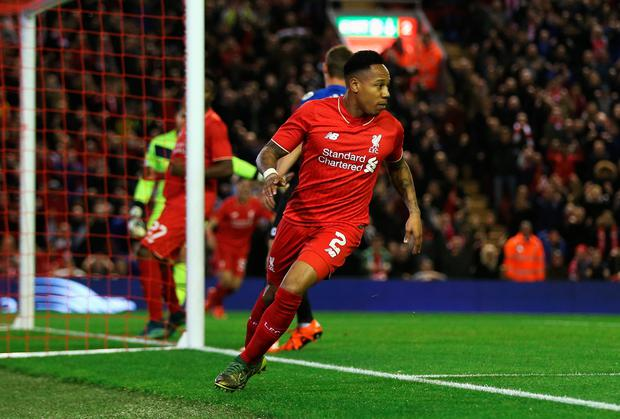 Nathaniel Clyne of Liverpool turns away after scoring the opening goal during the Capital One Cup Fourth Round match between Liverpool and AFC Bournemouth at Anfield on October 28, 2015 in Liverpool, England. (Photo by Chris Brunskill/Getty Images)