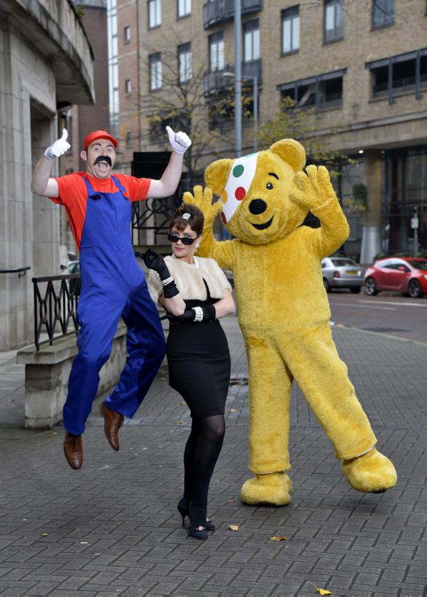 Super Mario aka BBC Northern Ireland's Barra Best and Audrey Hepburn aka fellow presenter Jo Scott