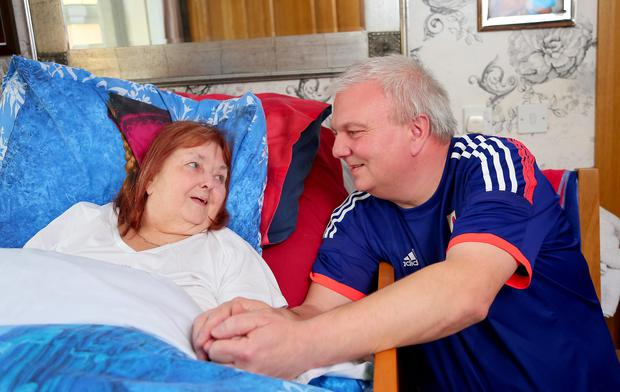 Tony Hillings and his bed-ridden wife Eilish at their Poleglass home