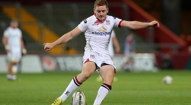 Best boot forward: Paddy Jackson on kicking duties for Ulster against Munster at Thomond Park, scoring eight points
