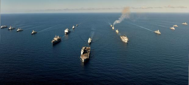 Royal Navy handout photo of 18 warships from 11 NATO nations lining up to within a few hundred feet of each other as they take part in Exercise Trident Juncture 15 in the Western Mediterranean. PA