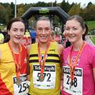 The Belfast Telegraph Run Forest Run Series, Mary Peters Track Minnowburn, Belfast. (L-R) 2nd place Naimh Kellett, East Down AC, 1st Roisin Hughes, North Belfast Harriers and 3rd place Kyla Henderson Lisburn Athletics Club. Photograph by Declan Roughan - Presseye