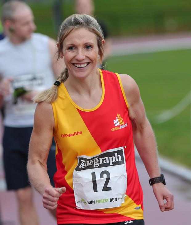 Joanne Foster at the Belfast Telegraph Run Forest Run Series, Mary Peters Track, Minnoburn, Belfast. Photograph by Declan Roughan - Presseye