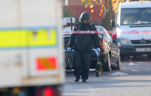 Police at ATO at the scene of the alert on Ainsworth Avenue. Picture: Kevin Scott / Presseye.