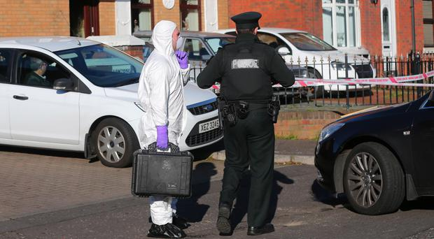 Police and forensic officers at the stabbing on the Cullingtree Road area of west Belfast. Picture: Kevin Scott / Presseye.