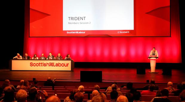 Christopher Rimicans,16, speaks during the Trident debate on the third day of the Scottish Labour Conference at the Perth Concert Hall in Scotland. Andrew Milligan/PA Wire.