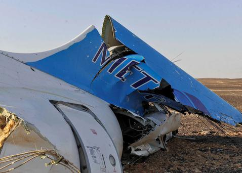 The tail of a Metrojet plane that crashed in Hassana, Egypt on Saturday